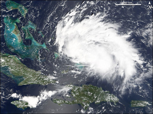 Terra satellite image of Tropical Storm Rita captured by MODIS on September 18, 2005.