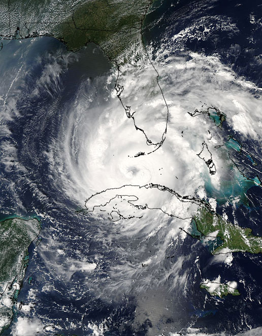 The MODIS instrument on the Aqua satellite captured this image of Hurricane Rita on September 20, 2005.