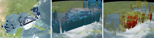 This shows three still images from the animation which depicts the amount of rainfall occurring within Hurricane Rita.