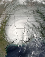 The MODIS instrument on the Terra satellite captured this image of Hurricane Rita on September 24, 2005.