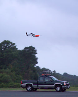 Aerosonde being released from the back of the truck.