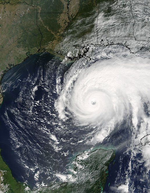 The MODIS instrument on the Aqua satellite captured this image of Hurricane Rita as it barreled its way across the warm Gulf of Mexico on September 22, 2005.