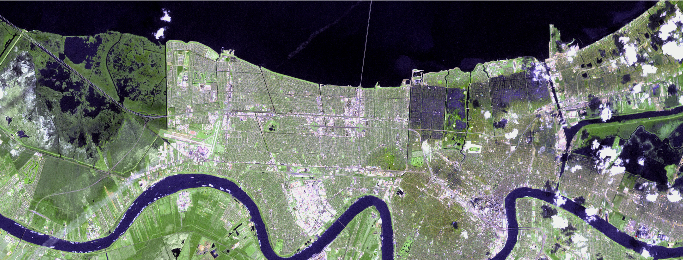 NASA Hurricane Season  Katrina - Map of new orleans rivers