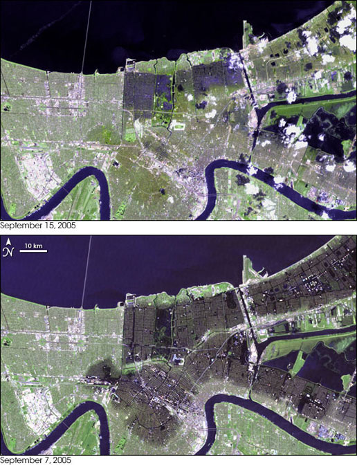These two images show New Orleans a week apart during the water pumping effort.