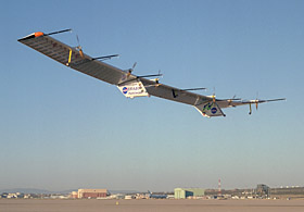 Pathfinder-Plus aircraft soars over Rogers Dry Lake.