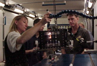 Photo: Hoffman, Lu and Foale examining BCAT-3 training samples at Johnson