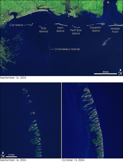 Chandeleur Islands were engulfed by flooding from Hurricane Rita.  These show before and after images of the islands.