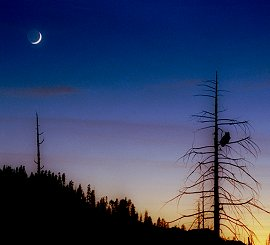 A crescent moon with Earthshine over Yosemite National Park.