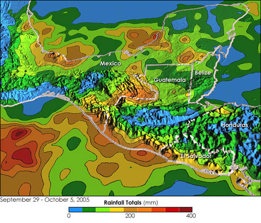 This image shows rainfall totals over southern Mexicoand the surrounding region for the period 29 September to 5 October 2005.