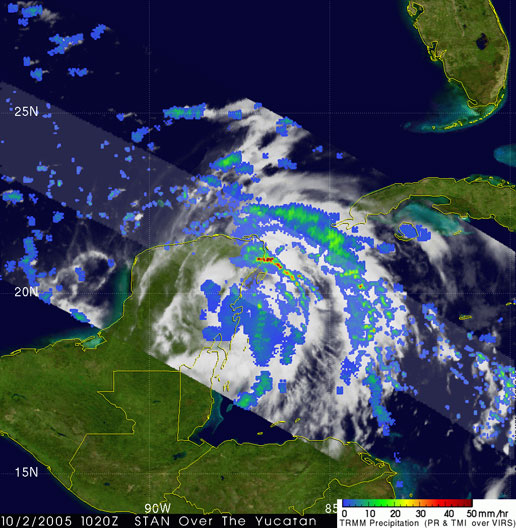 This first image was taken at 6:20 am EDT on2 October 2005 as Stan was coming ashore on the Yucatan Peninsula.