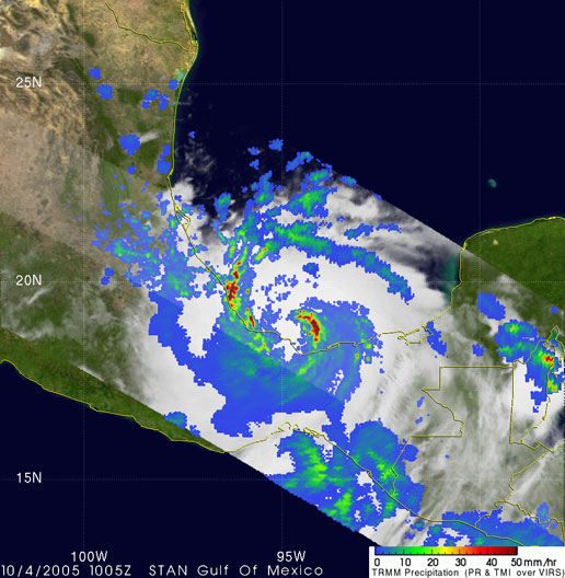 The next image from TRMM was taken at 6:05 am EDT on October 4thand shows Stan making landfall along the coast of Vera Cruz, Mexico.