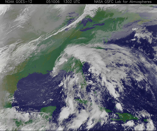 GOES image of Tropical Storm Tammy on October 6, 2005.