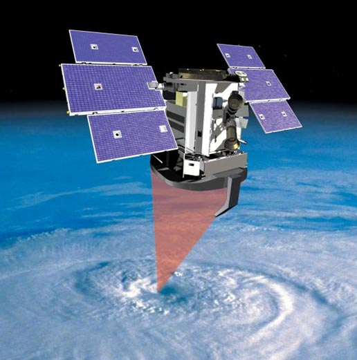 artist's concept of CloudSat studying clouds