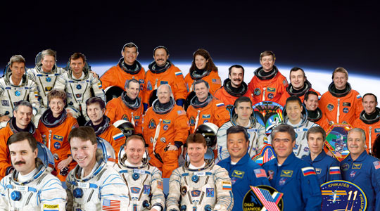 Collage of station crew members from crew 1 through crew 11