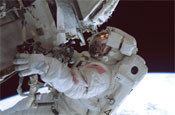 Astronaut Donald R. Pettit outside the international space station during an extravehicular activity