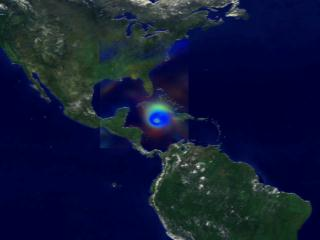 Still from animation illustrating the output of NASA's Finite Volume General Circulation computer Model during the 5 day period just prior to the landfall of hurricane Ivan in 2004.