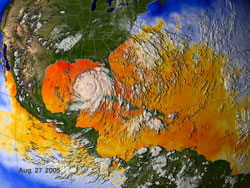Sea surface temperatures surrounding Hurricane Katrina on August 27, 2005.