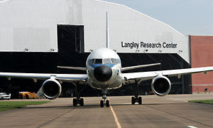 NASA Langley's flying laboratory, a Boeing 757, rolls out toward the runway.