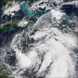 Tropical Storm Wilma as seen by the MODIS instrument on the Terra satellite on October 17, 2005.