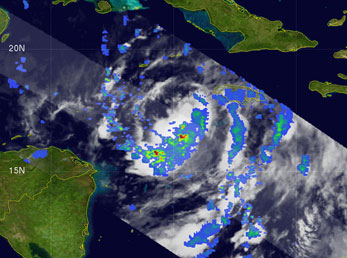 The Tropical Rainfall Measuring Mission satellite captured this unique image of Tropical Storm Wilma at 6:35 a.m. EDT on Oct. 17, 2005