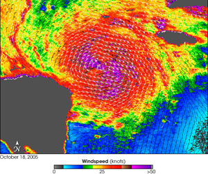 Quikscat image of Hurricane Wilma taken on October 18, 2005.