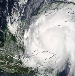 Image of Hurricane Wilma taken by the MODIS instrument on the Aqua satellite on October 19, 2005.