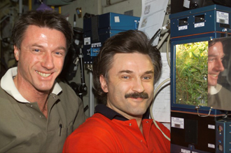 The Expedition 8 crew aboard the International Space Station poses beside the Lada greenhouse.