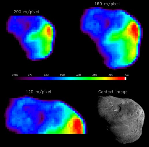 temperature map of comet Tempel 1's nucleus with different spatial resolutions