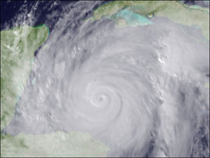 GOES satellite image of Hurricane Wilma taken on October 19, 2005.