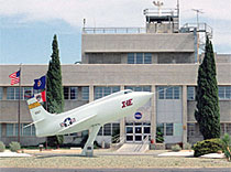 X-1E on pedestal in front of Dryden's main building