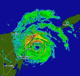 This is a radar image from the Mexican weather service radar at 10:16 a.m. EDT on Friday, October 21 clearly showing the eye of Wilma south of Cozumel, Mexico.