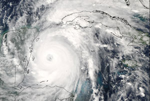 Aqua captured this image of Hurricane Wilma on October 20, 2005.