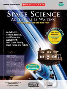 This activity cover shows a house floating in space with two boys standing in the doorway looking out and roots hanging from underneath the house. The title at the top reads Space Science Adventure Is Waiting Classroom Activities and Take-Home Pages Grades 3-5. The words on the right side read Great Sweepstakes! Great Prizes! The words on the left read Activity #1: Comets, Meteors, and Meteoroids Activity #2: Web Quest: Gravity, Black Holes, and Robots. This is superimposed over an image of a planet with rings. There is a large gold colored rock on the bottom left side.