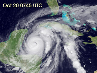 Still from movie showing Hurricane Wilma's movements from October 15 to October 24, 2005.
