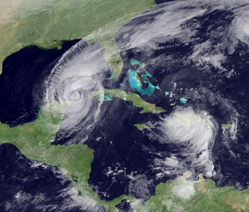 GOES sees both Wilma and Alpha in this image taken on October 23, 2005.