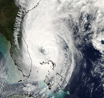 Aqua captured this image of Hurricane Wilma as it departed Florida on October 24, 2005.