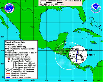 The National Hurricane Center's predicted track for Tropical Storm Beta for the next five days.  This image is from October 27, 2005.