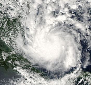 Tropical Storm Beta captured by the MODIS instrument on the Aqua satellite on October 27, 2005.