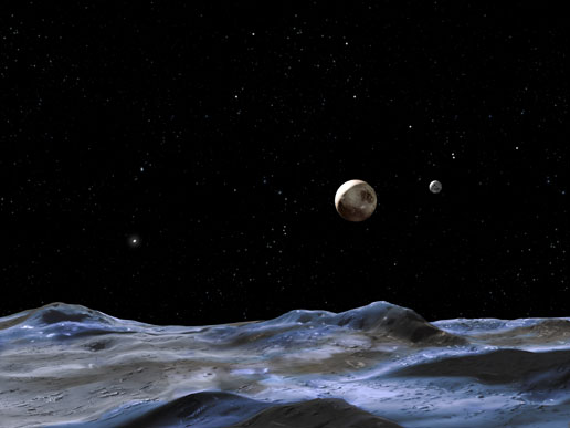 This artist's concept above shows the Pluto system from the surface of one of its moons.