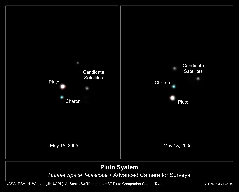 Duas novas luas descobertas em torno de pluto imagens do telescpio espacial hubble revelam pluto a grande lua caronte e os dois novos satlites candidatos entre dia 15 e 18 de maio ccuart Images
