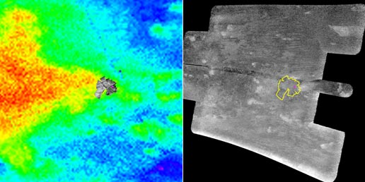 On the left, in color, composite image of area where Huygens probe landed; on right a radar image of the same area