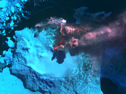 Mount Belinda Erupts -- NASA Image -- click for story and pics