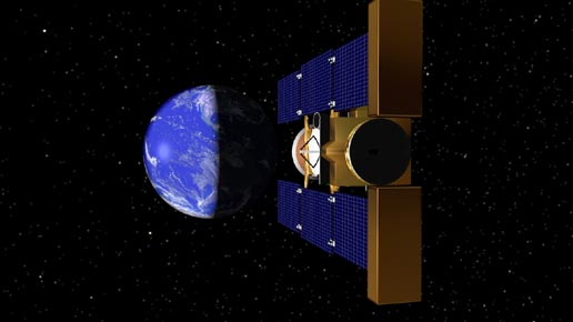 artist's concept of Stardust nearing Earth