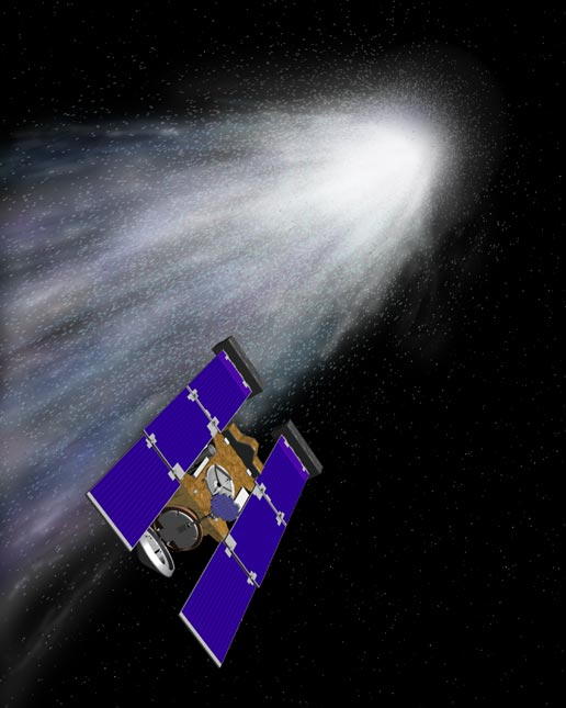 artist's concept of Stardust's encounter with comet Wild 2