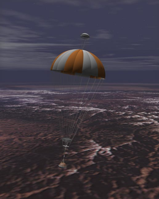 artist's concept of sample return capsule parachuting to Earth
