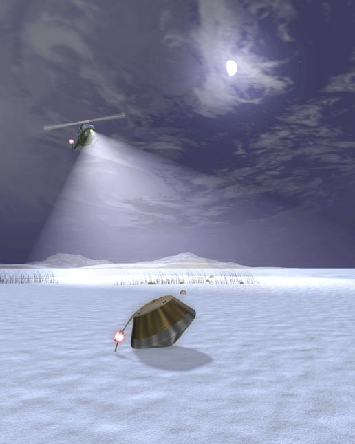 artist's concept of Stardust's sample return capsule on ground