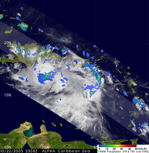 The image was taken at 7:08 pm EDT 22 October 2005 and shows the horizontal distribution of the rain intensity associated with Alpha.