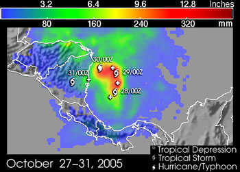 Rainfall totals from Beta are shown for the period 27 to 31 October 2005.  The heaviest amounts, on the order of 12 inches, occurred off shore and were a direct result of Beta's slow forward speed.