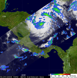 TRMM captured this image of Beta at 7:39 am EDT 29 October soon after it became a hurricane.