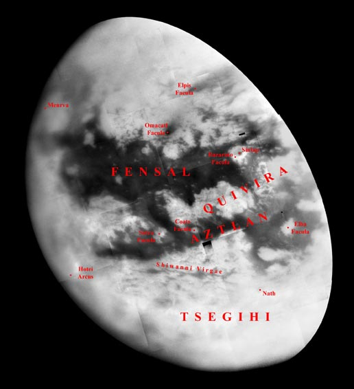 view showing more than half of Titan's Saturn-facing hemisphere with label showing the Fensal-Aztlan region